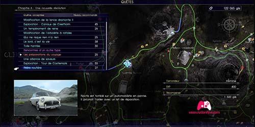 Carte de la quête secondaire Prière routière