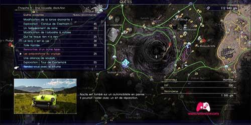 Carte de la quête secondaire Rendez-vous avec le bitume