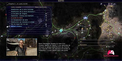 Carte de la quête Un bon chasseur