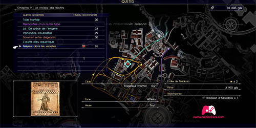 Carte de la quête secondaire Frayeur dans les venelles