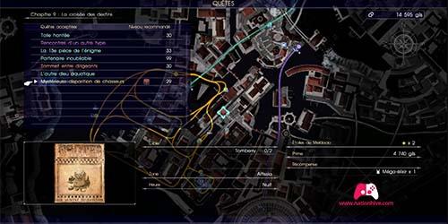 Carte de la quête secondaire Mystérieuse disparition des chasseurs
