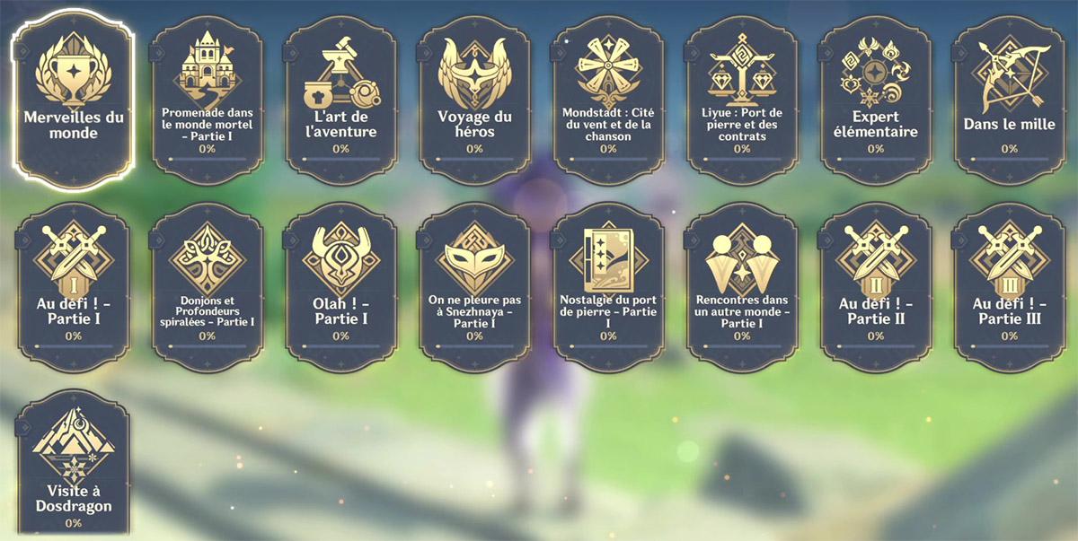 Liste des succès dans Genshin Impact
