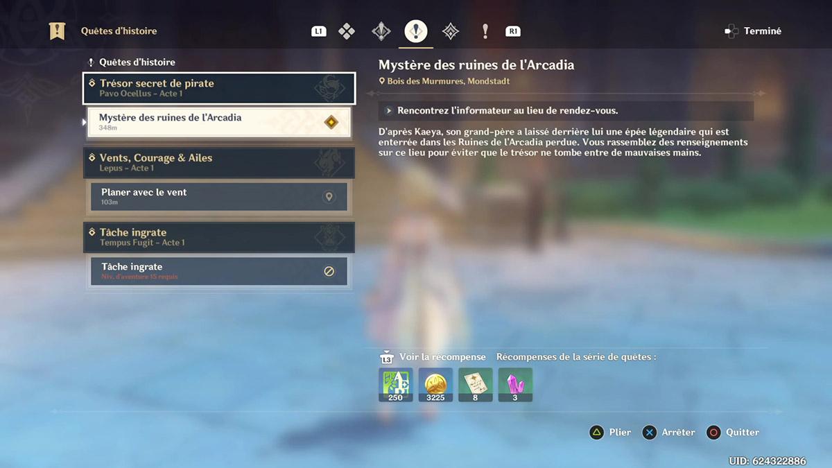 Soluce de la quête Mystère des ruines de l'Arcadia de Genshin Impact