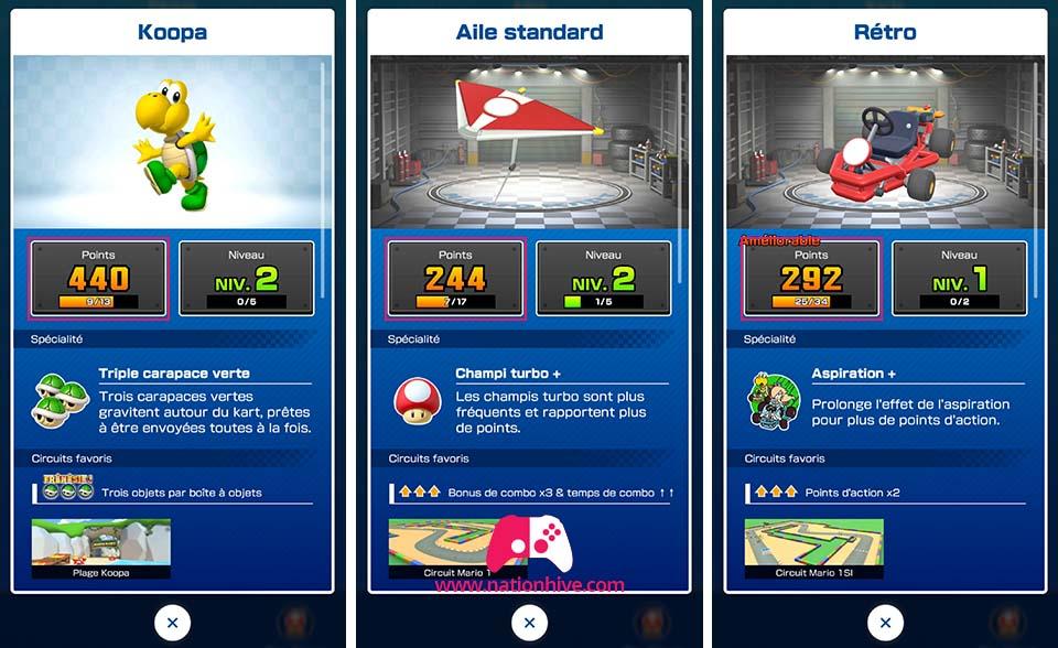 Points de base des Kart, Ailes et Personnage