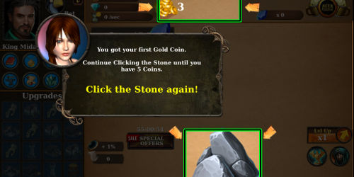 Premier clic dans le jeu