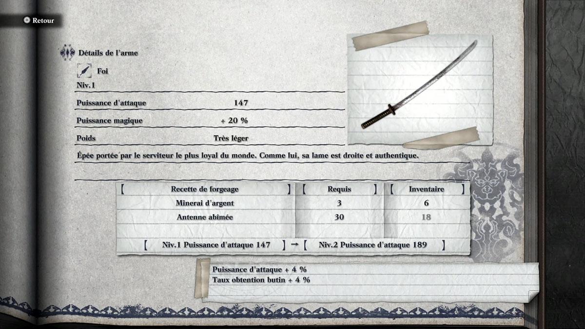 Guide pour obtenir l'arme Foi