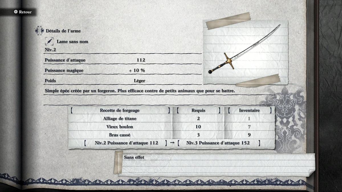 Obtenir l'épée à une main Lame sans nom dans NieR Replicant