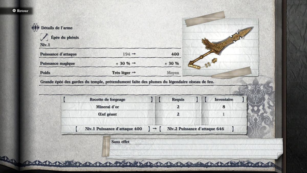 Arme Epée du Phénix de NieR Replicant