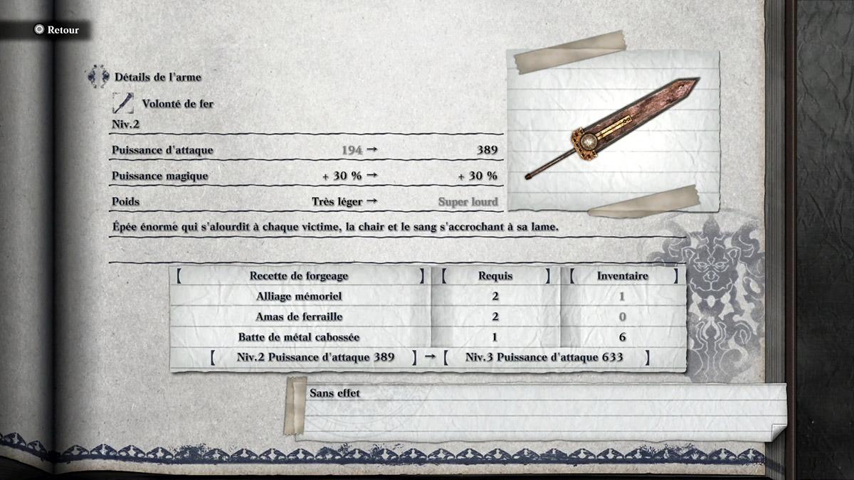 Arme Volonté de fer de NieR Replicant