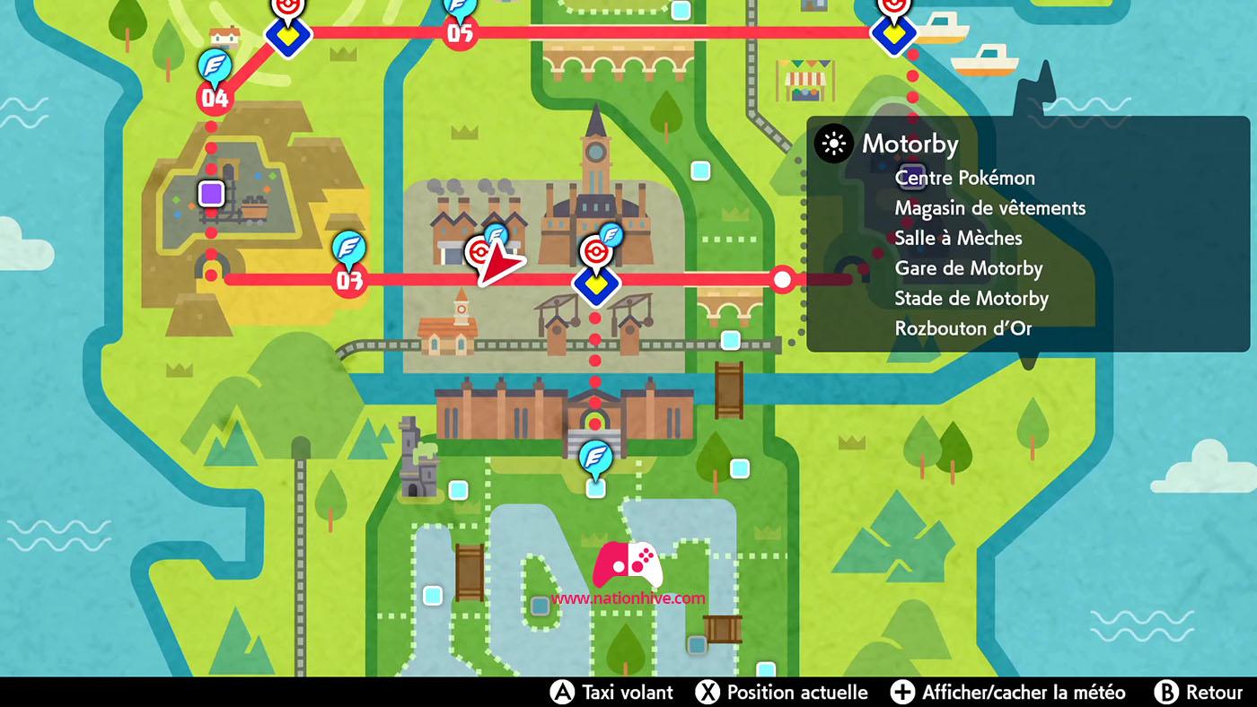 Carte du Centre Pokémon Ouest de Motorby
