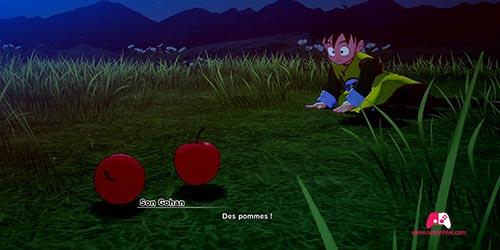 Donner les pommes à Son Gohan