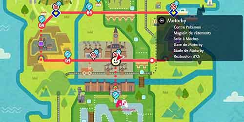 Carte du Centre Pokemon Sud de Motorby