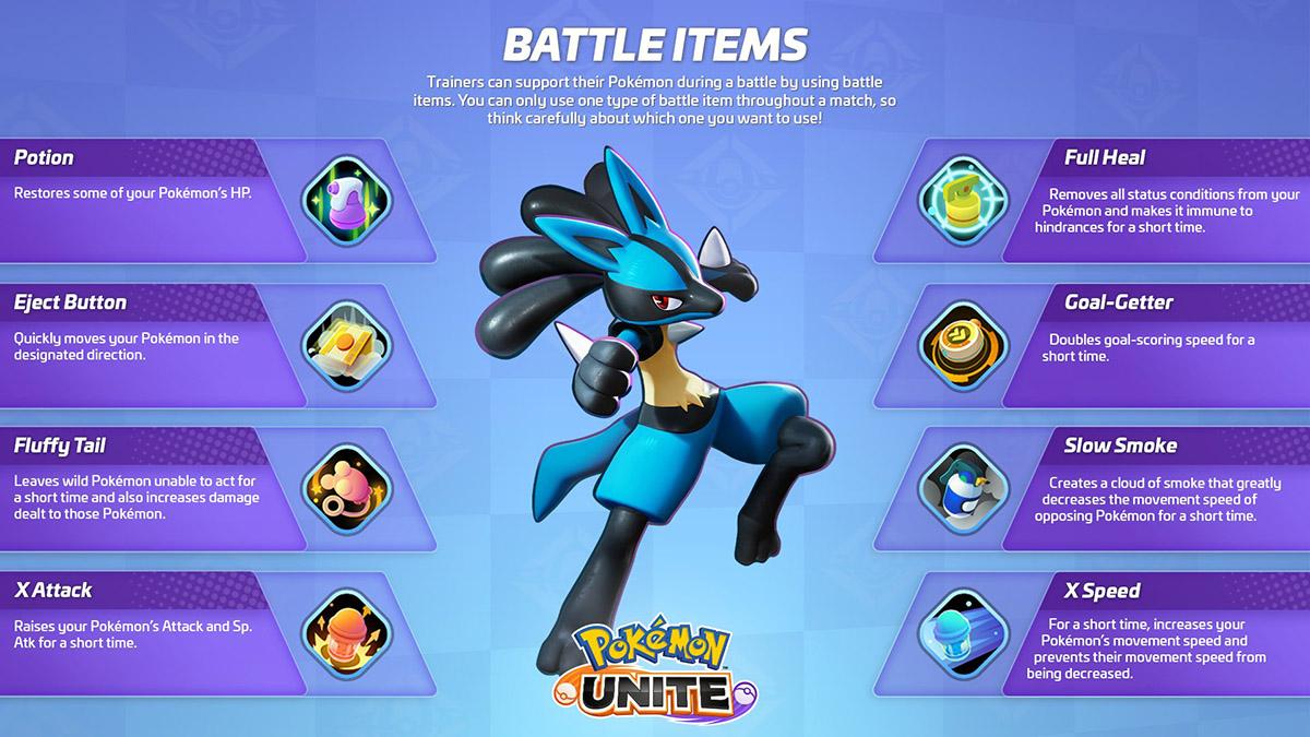 Guide et soluce des Battle Items dans Pokémon Unite