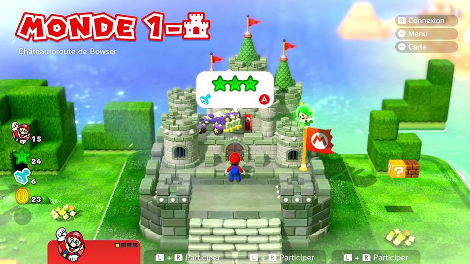 Soluce du Monde 1-Château : Châteauroute de Bowser de Super Mario 3D World