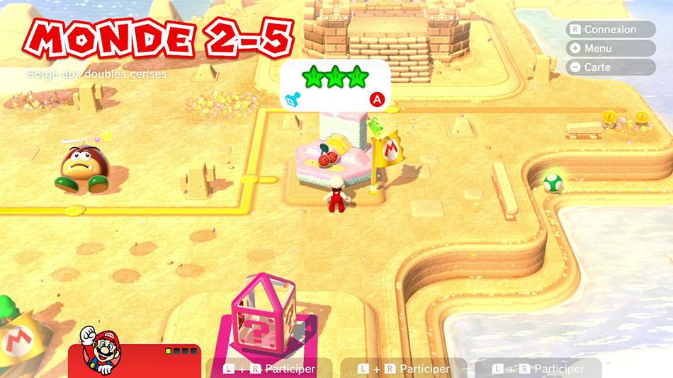 Soluce du Monde 2-5 : Gorge aux doubles cerises de Super Mario 3D World