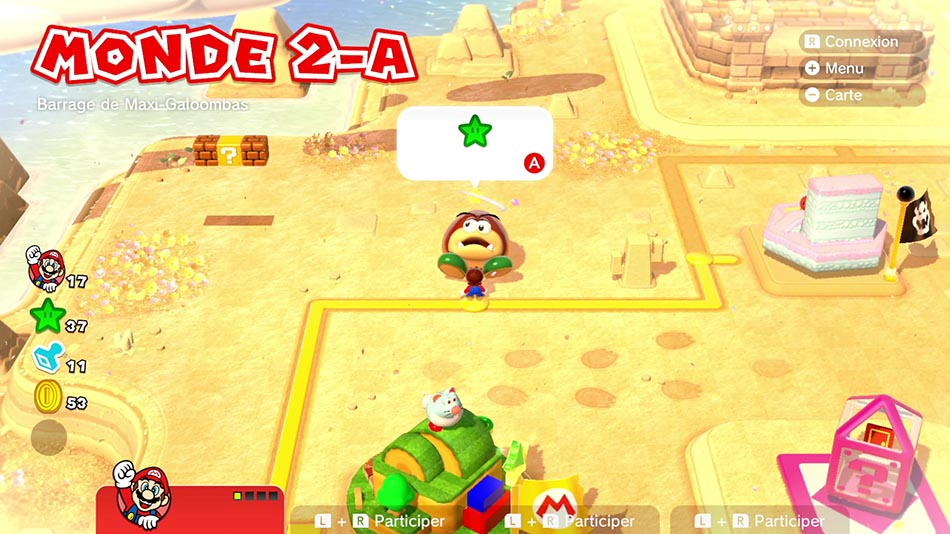 Soluce du Monde 2-A : Barrage de Maxi-Galoombas de Super Mario 3D World