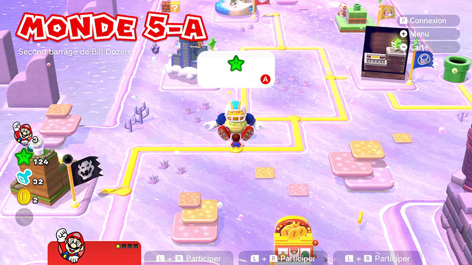 Soluce du Monde 5-A : Second barrage de Bill Dozers de Super Mario 3D World