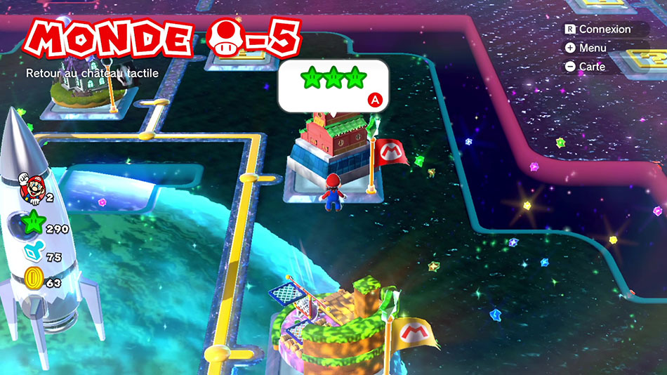 Soluce du Monde Champignon-5 : Retour au château tactile de Super Mario 3D World