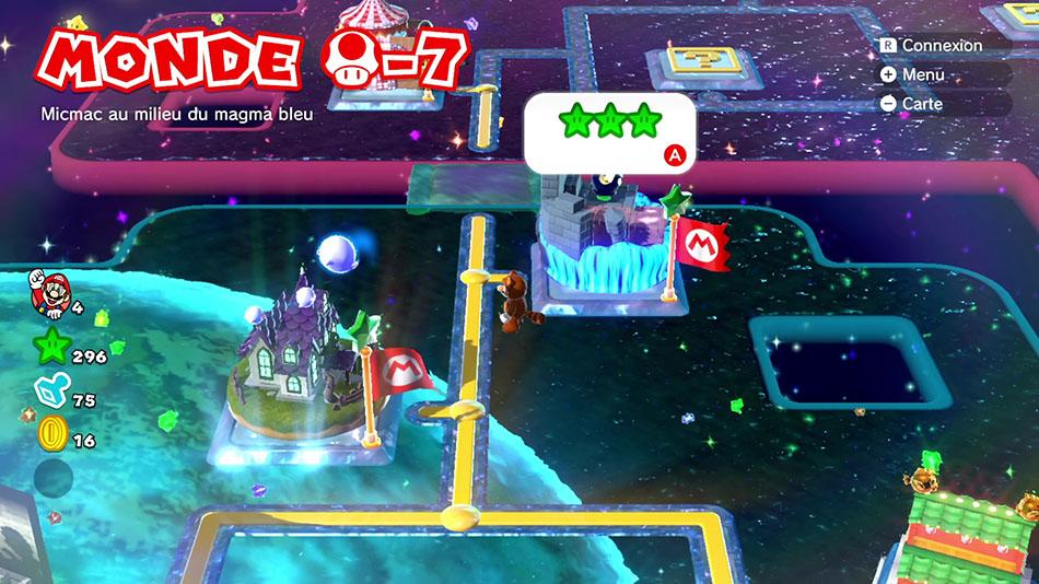 Soluce du Monde Champignon-7 : Micmac au milieu du magma bleu de Super Mario 3D World