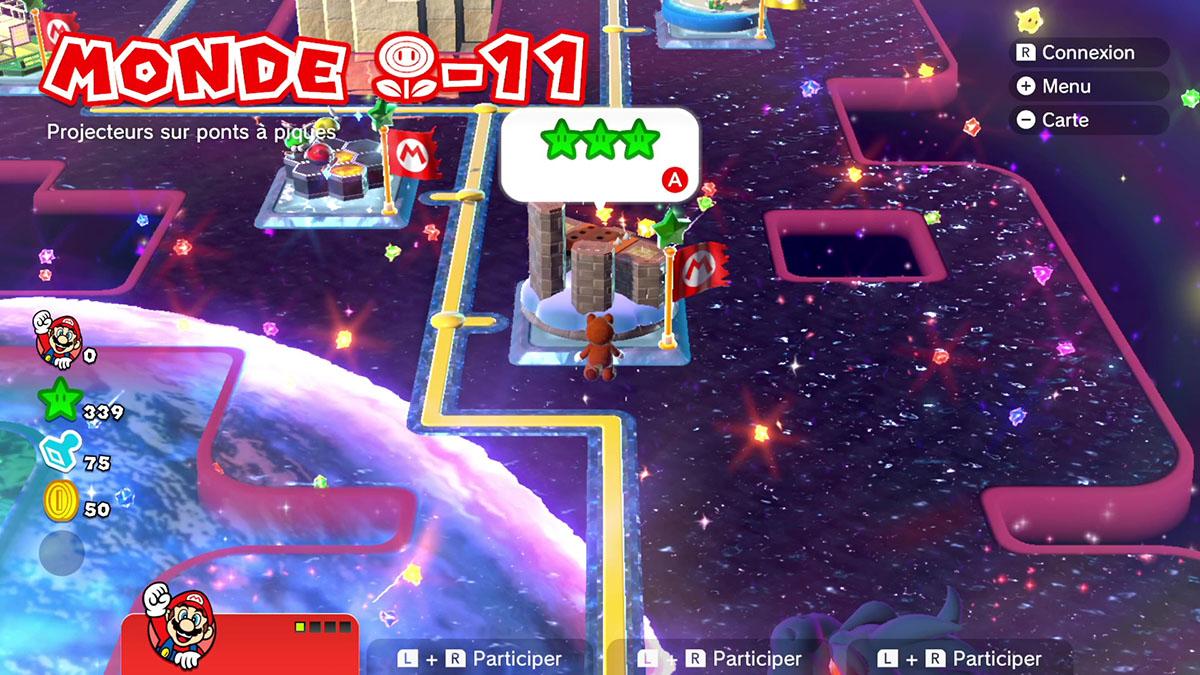 Soluce du Monde Fleur-11 : Projecteurs sur ponts à piques de Super Mario 3D World
