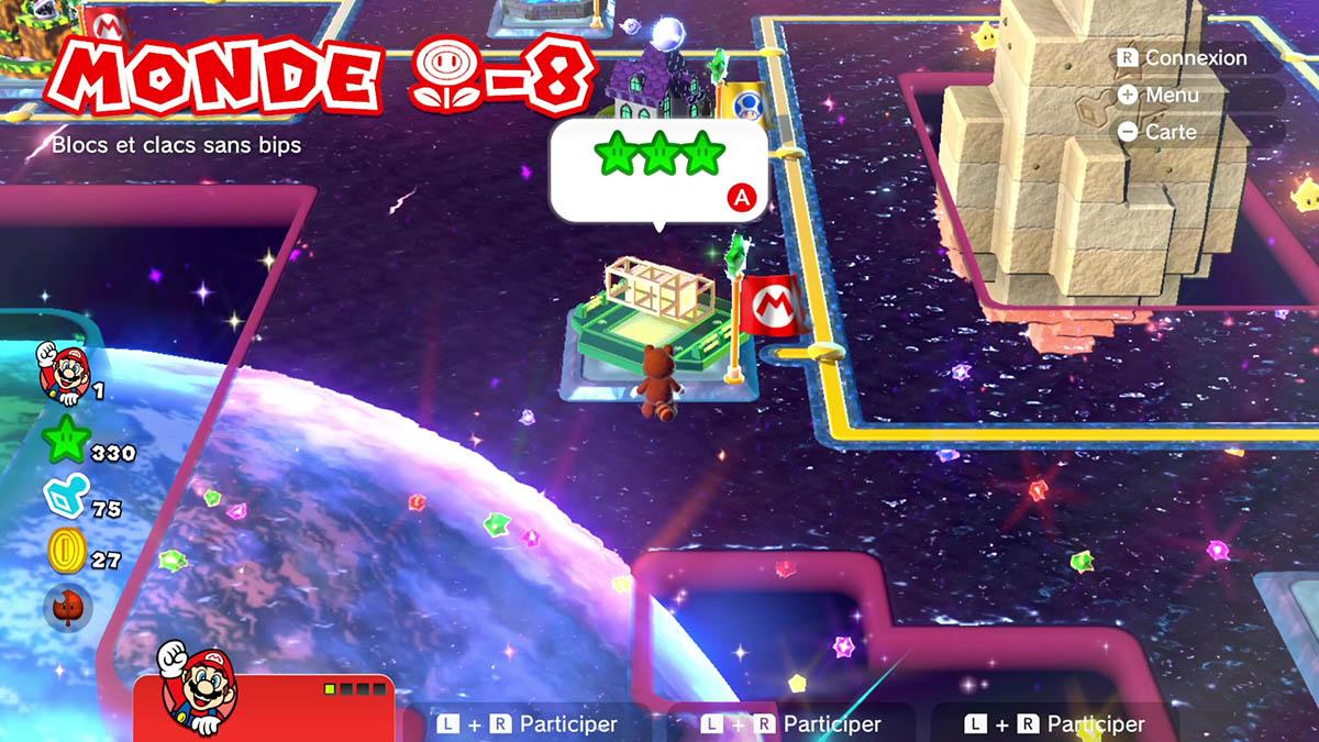 Soluce du Monde Fleur-8 : Blocs et clacs sans bips de Super Mario 3D World